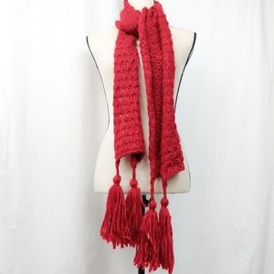 Cato Red Knit Chunky Tassel Scarf One Size